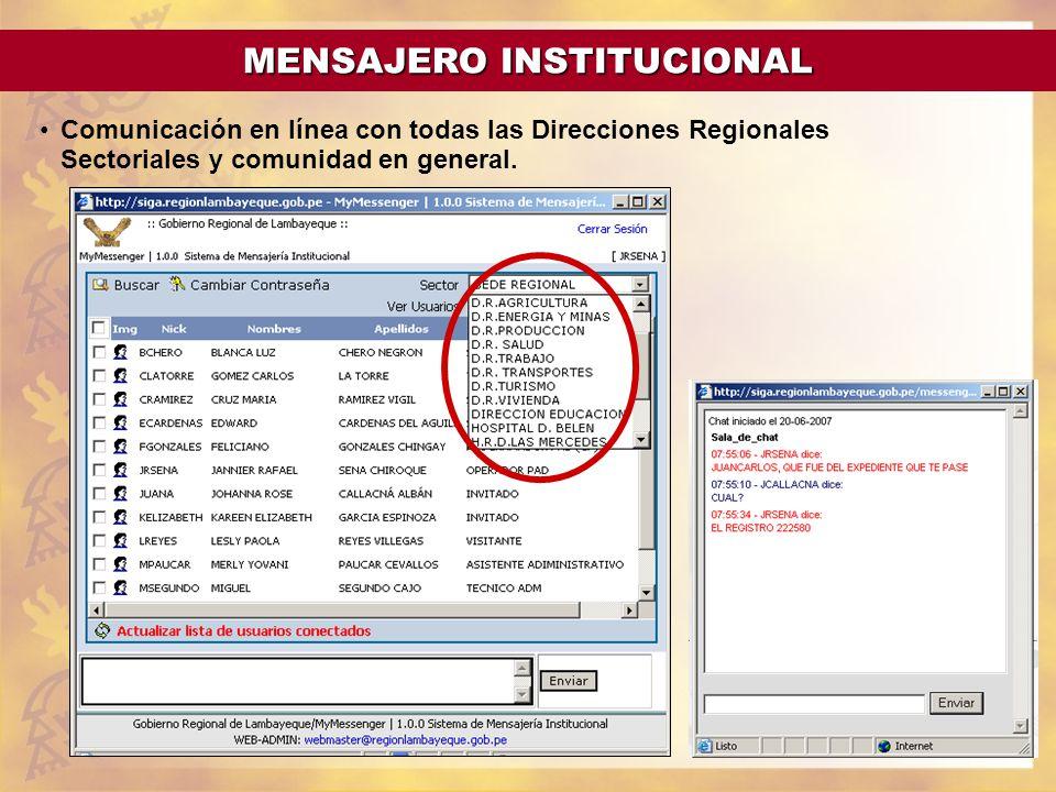 Comunicación en línea con todas las Direcciones Regionales Sectoriales y comunidad en general. CARACTERISTICAS MENSAJERO INSTITUCIONAL