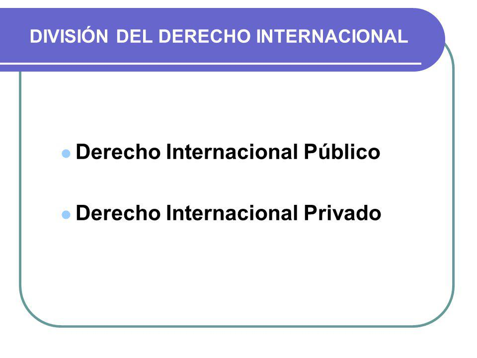 DIVISIÓN DEL DERECHO INTERNACIONAL Derecho Internacional Público Derecho Internacional Privado