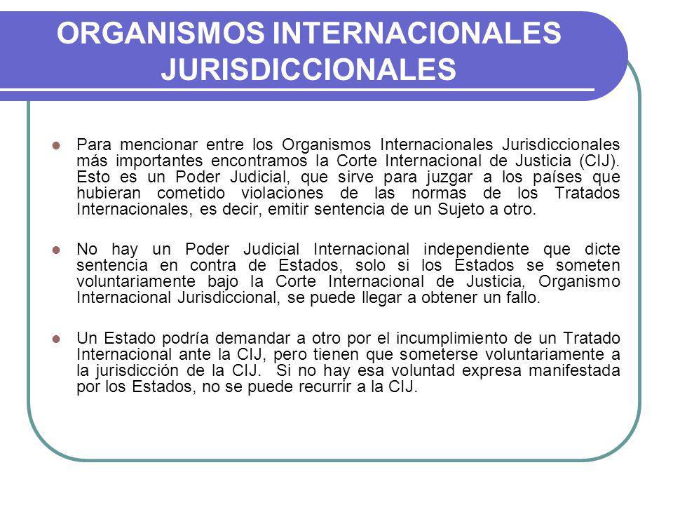 ORGANISMOS INTERNACIONALES JURISDICCIONALES Para mencionar entre los Organismos Internacionales Jurisdiccionales más importantes encontramos la Corte Internacional de Justicia (CIJ).