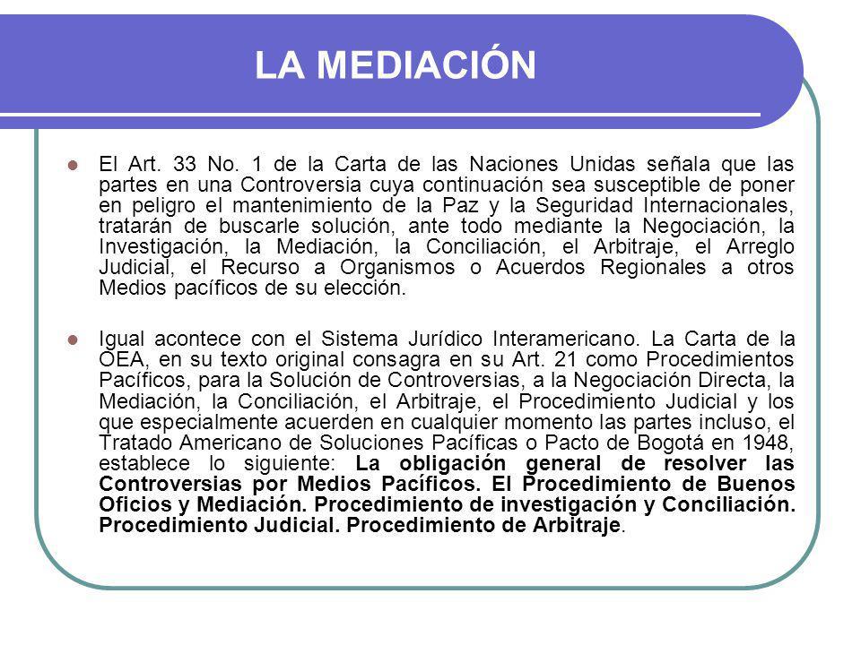 LA MEDIACIÓN El Art.33 No.