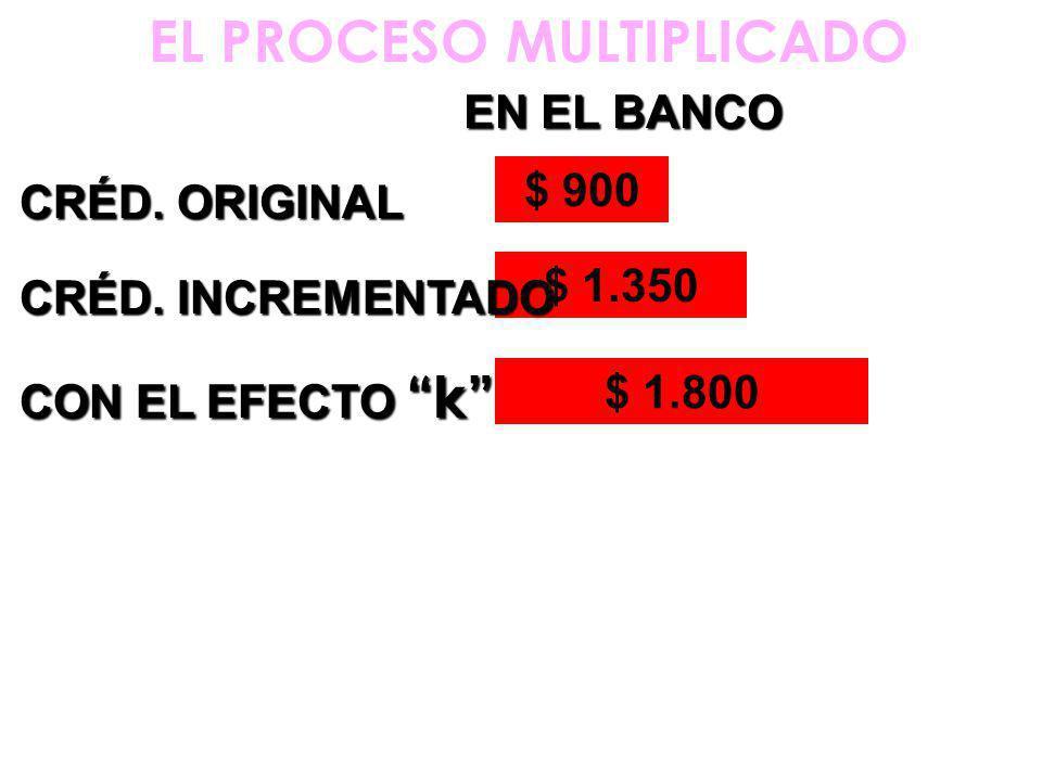 EL PROCESO MULTIPLICADO $ 900 CRÉD. ORIGINAL EN EL BANCO $ 1.350 CRÉD.