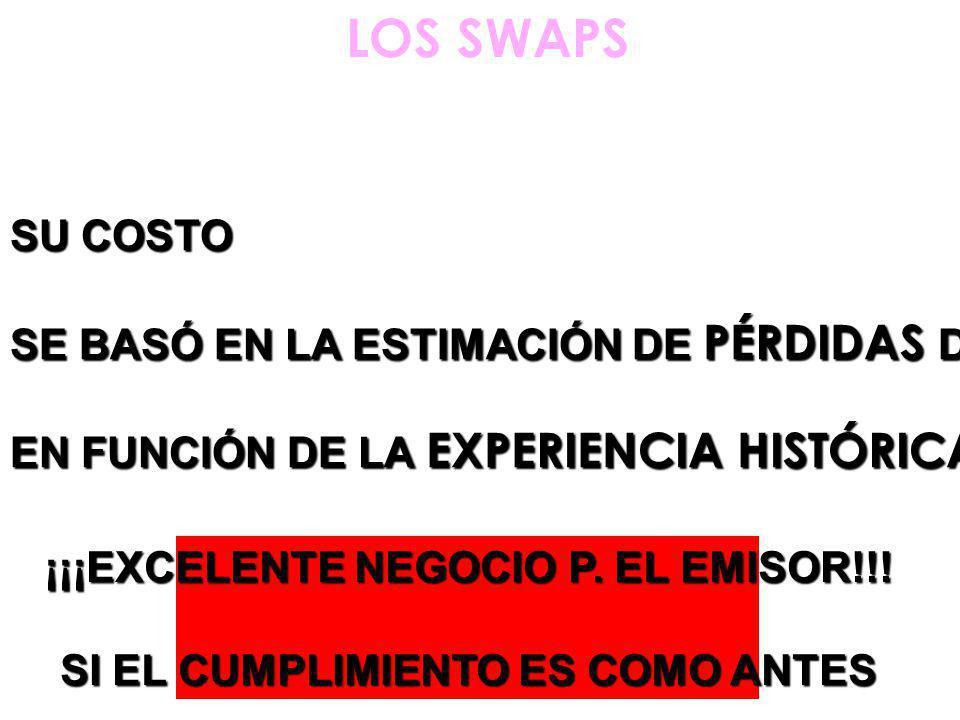 LOS SWAPS SU COSTO SE BASÓ EN LA ESTIMACIÓN DE PÉRDIDAS DE ESA CARTERA EN FUNCIÓN DE LA EXPERIENCIA HISTÓRICA TENIDA ¡¡¡EXCELENTE NEGOCIO P.