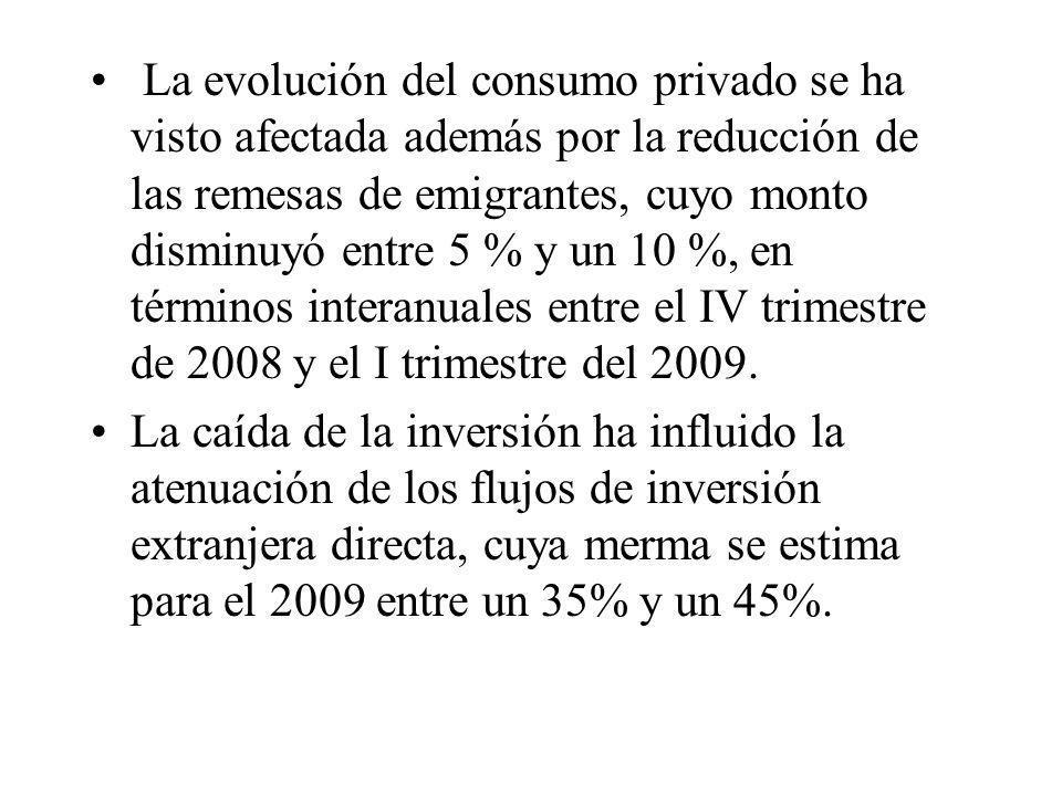 La evolución del consumo privado se ha visto afectada además por la reducción de las remesas de emigrantes, cuyo monto disminuyó entre 5 % y un 10 %,