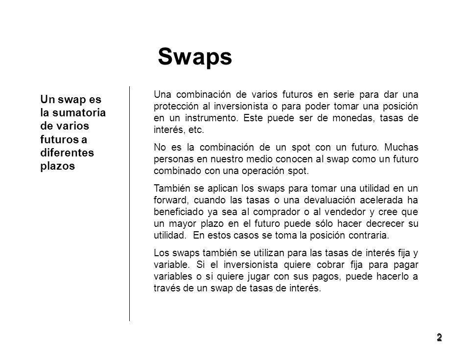 2 Un swap es la sumatoria de varios futuros a diferentes plazos Swaps Una combinación de varios futuros en serie para dar una protección al inversionista o para poder tomar una posición en un instrumento.