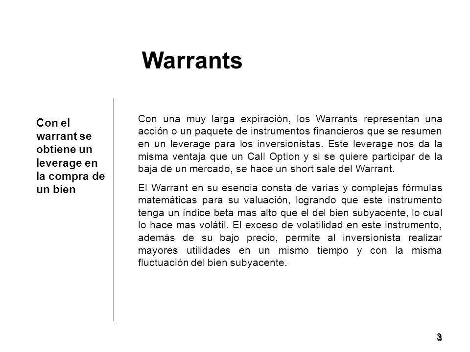 3 Con el warrant se obtiene un leverage en la compra de un bien Warrants Con una muy larga expiración, los Warrants representan una acción o un paquete de instrumentos financieros que se resumen en un leverage para los inversionistas.