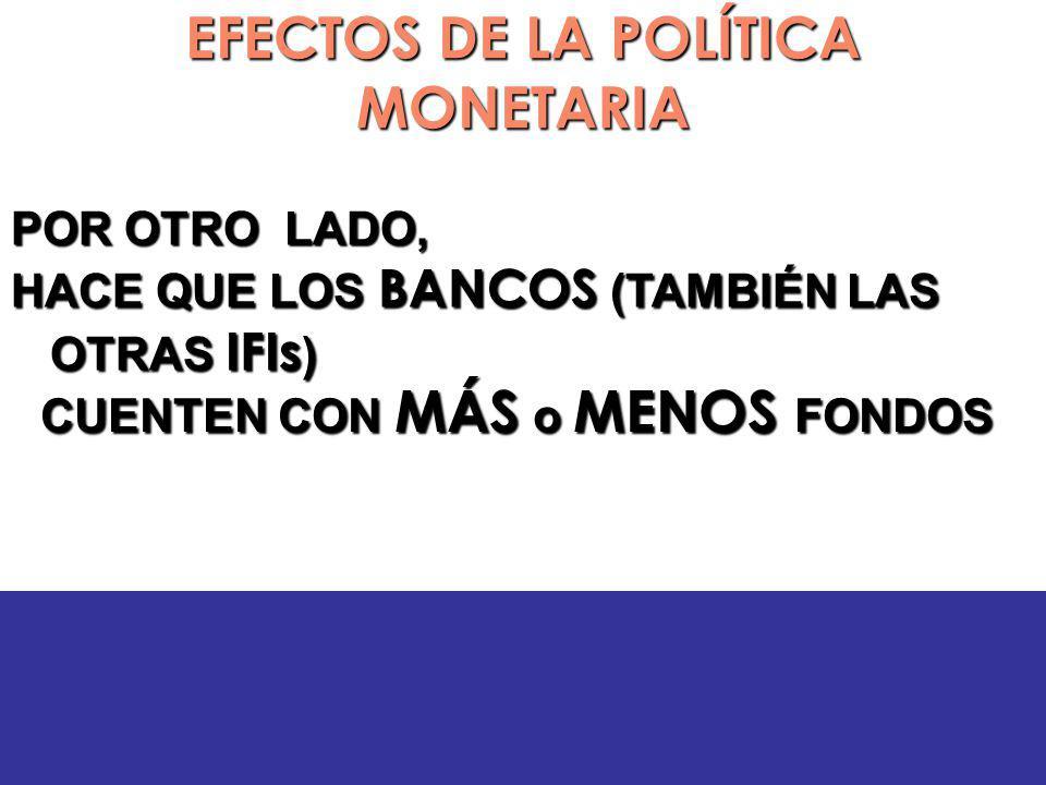 EFECTOS DE LA POLÍTICA MONETARIA POR OTRO LADO, HACE QUE LOS BANCOS (TAMBIÉN LAS OTRAS IFIs ) CUENTEN CON MÁS o MENOS FONDOS CUENTEN CON MÁS o MENOS FONDOS