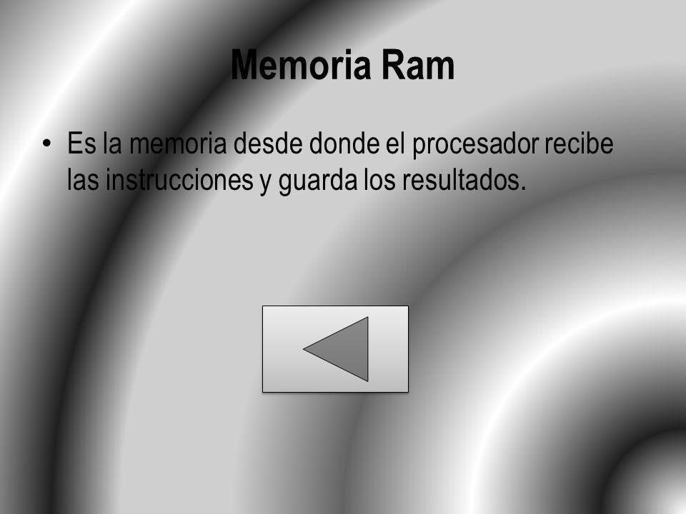 Memoria Ram Es la memoria desde donde el procesador recibe las instrucciones y guarda los resultados.