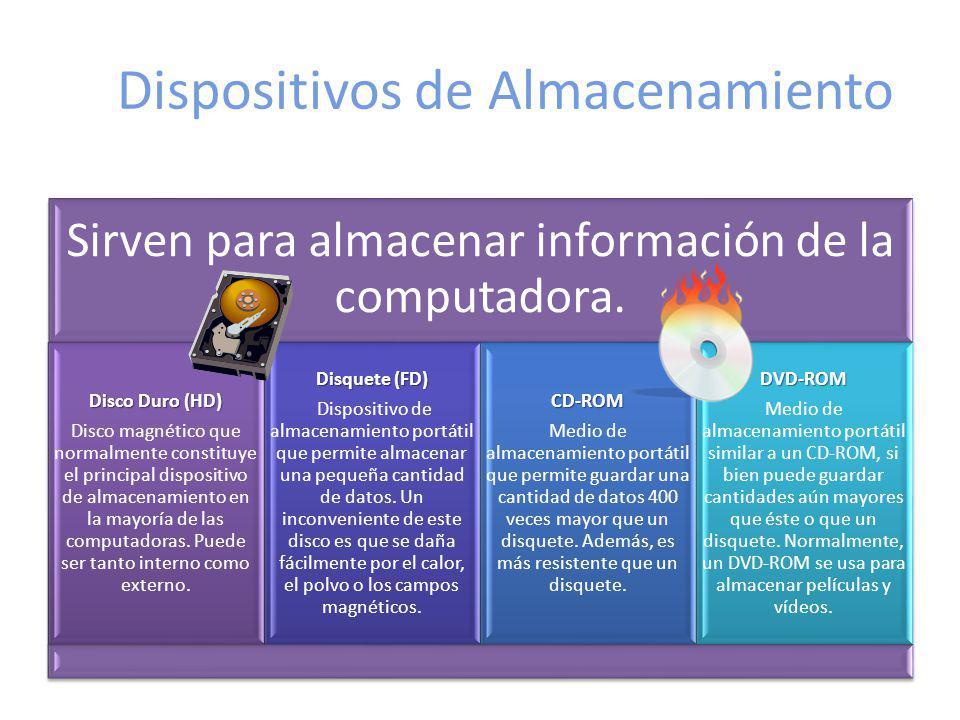 Dispositivos de Almacenamiento Sirven para almacenar información de la computadora. Disco Duro(HD) Disco Duro (HD) Disco magnético que normalmente con