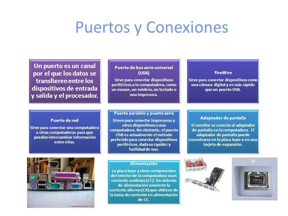 Puertos y Conexiones Un puerto es un canal por el que los datos se transfieren entre los dispositivos de entrada y salida y el procesador. Puerto de b