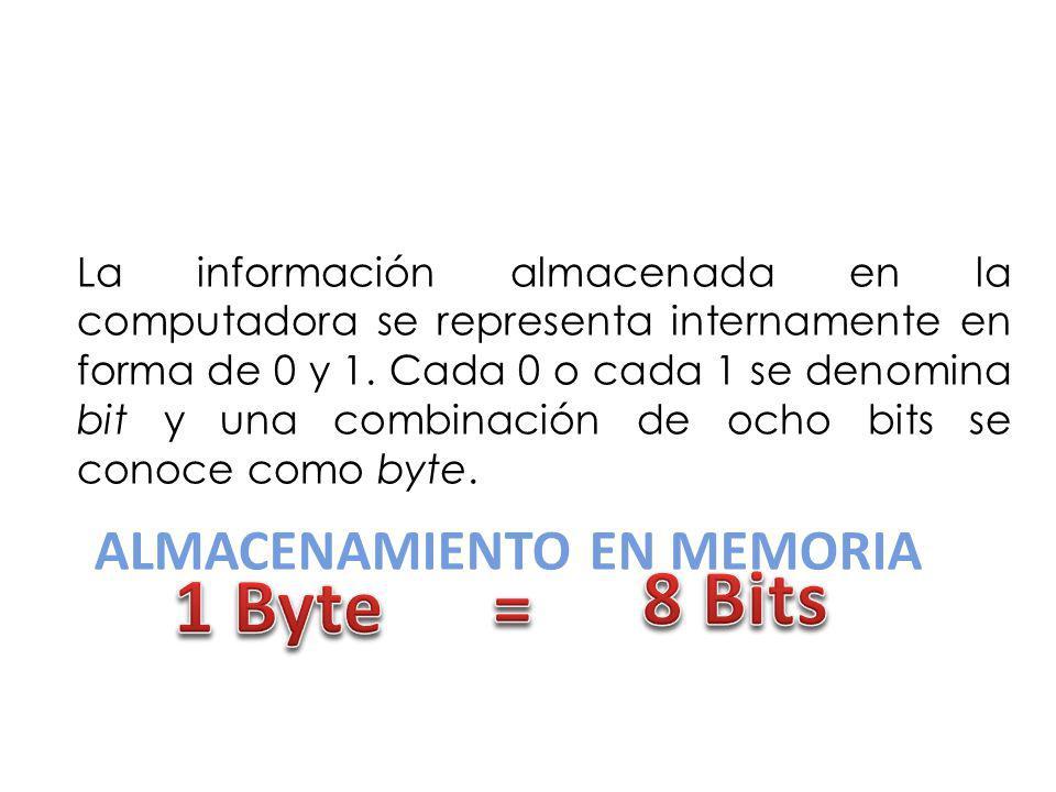 ALMACENAMIENTO EN MEMORIA La información almacenada en la computadora se representa internamente en forma de 0 y 1. Cada 0 o cada 1 se denomina bit y