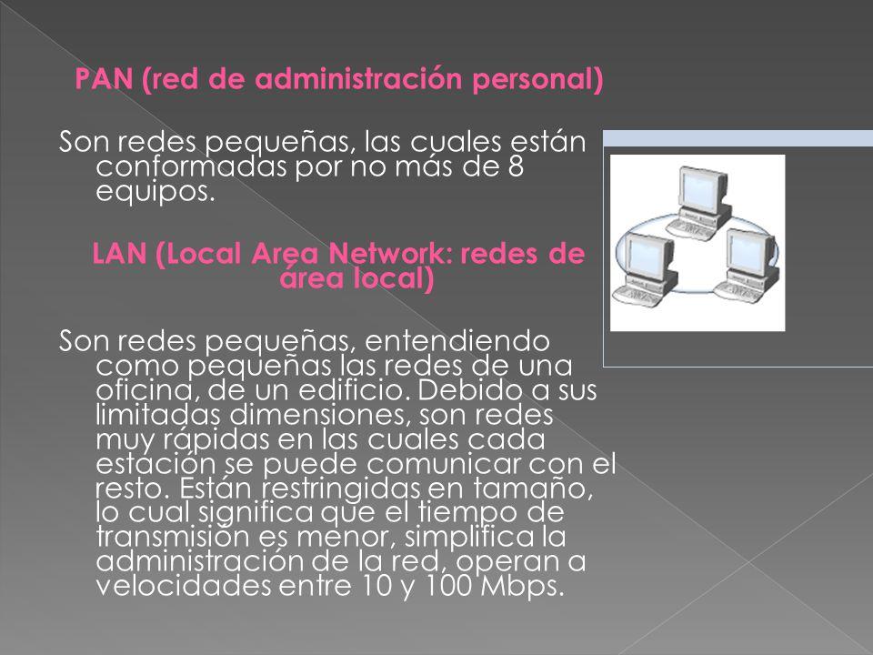 PAN (red de administración personal) Son redes pequeñas, las cuales están conformadas por no más de 8 equipos.