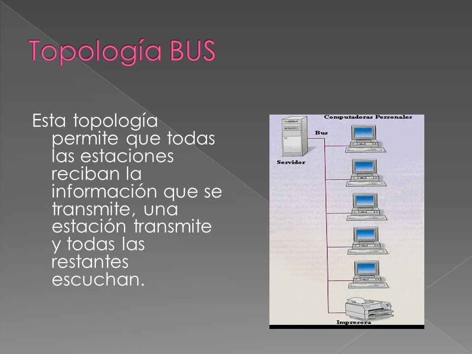 Esta topología permite que todas las estaciones reciban la información que se transmite, una estación transmite y todas las restantes escuchan.