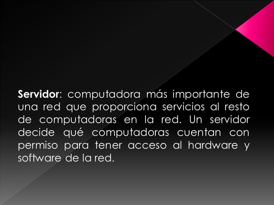 Servidor : computadora más importante de una red que proporciona servicios al resto de computadoras en la red.