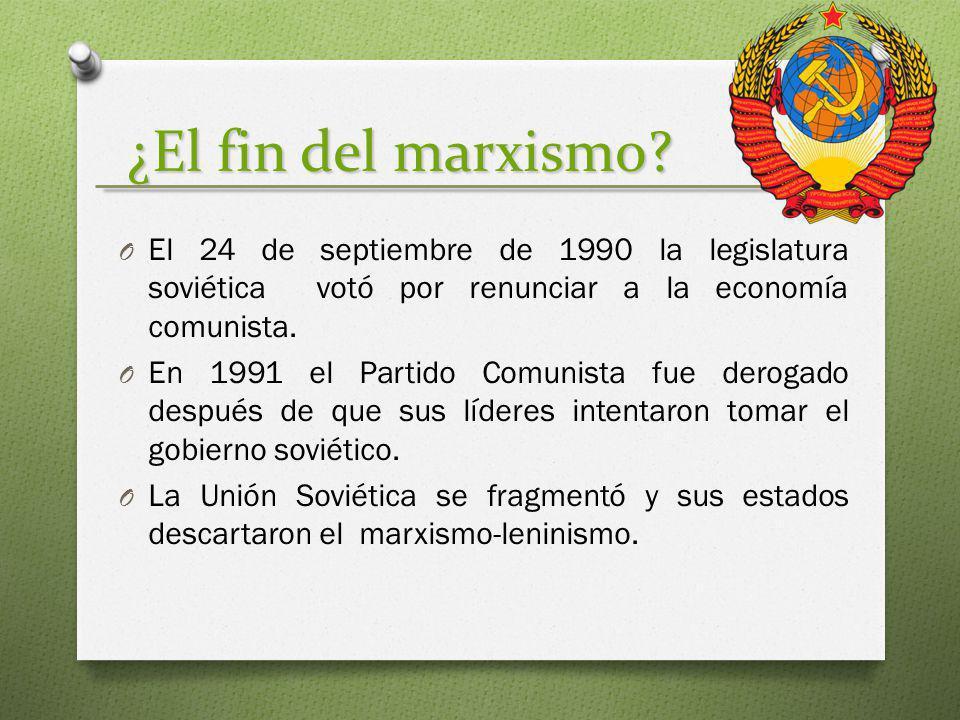 ¿El fin del marxismo? O El 24 de septiembre de 1990 la legislatura soviética votó por renunciar a la economía comunista. O En 1991 el Partido Comunist