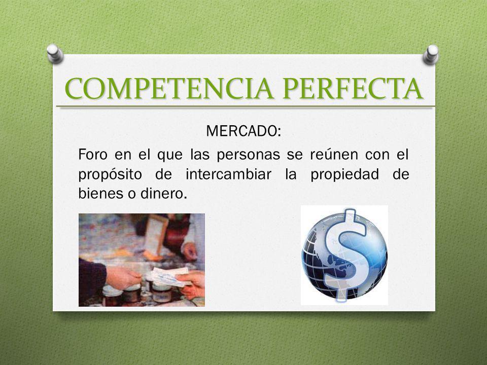 COMPETENCIA PERFECTA MERCADO: Foro en el que las personas se reúnen con el propósito de intercambiar la propiedad de bienes o dinero.