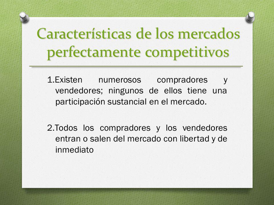 Características de los mercados perfectamente competitivos 1.Existen numerosos compradores y vendedores; ningunos de ellos tiene una participación sus