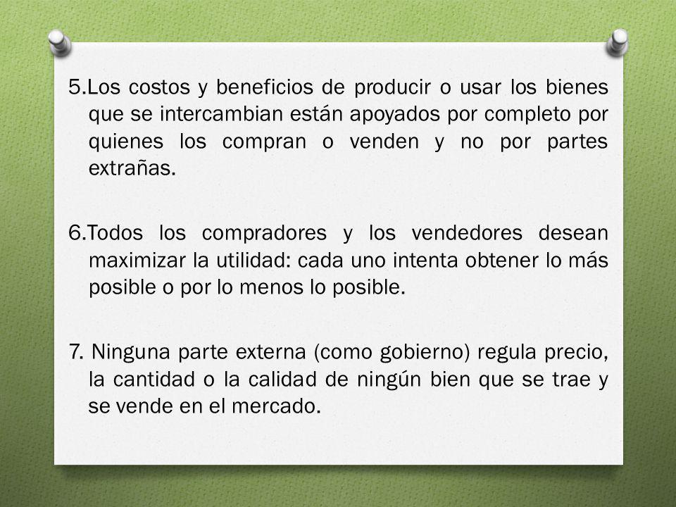 5.Los costos y beneficios de producir o usar los bienes que se intercambian están apoyados por completo por quienes los compran o venden y no por part