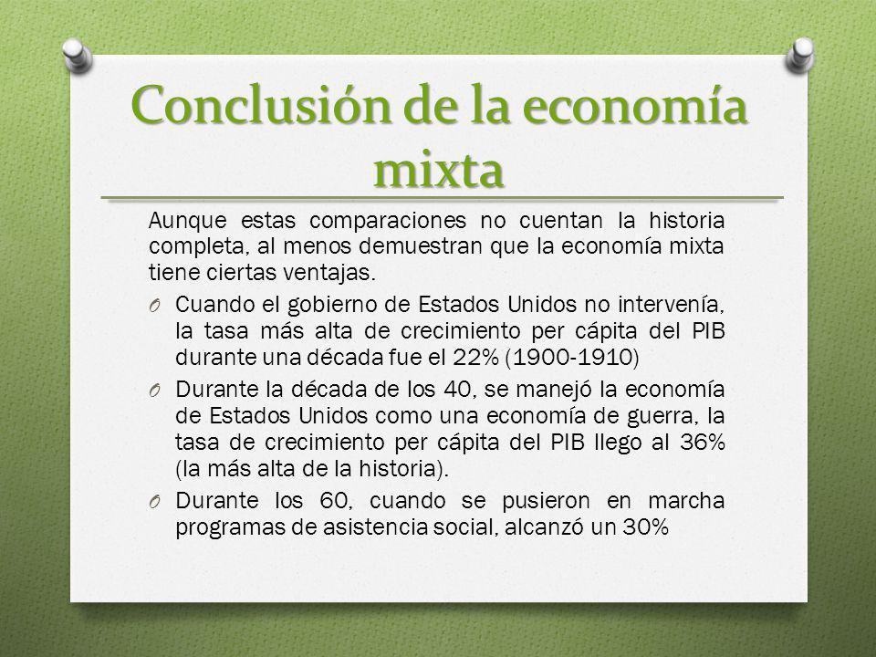 Conclusión de la economía mixta Aunque estas comparaciones no cuentan la historia completa, al menos demuestran que la economía mixta tiene ciertas ve