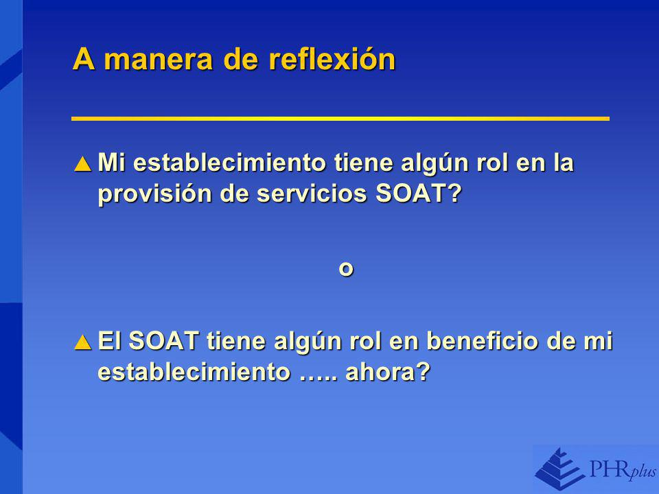 A manera de reflexión Mi establecimiento tiene algún rol en la provisión de servicios SOAT.