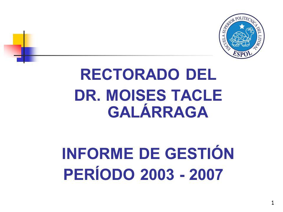 1 RECTORADO DEL DR. MOISES TACLE GALÁRRAGA INFORME DE GESTIÓN PERÍODO 2003 - 2007
