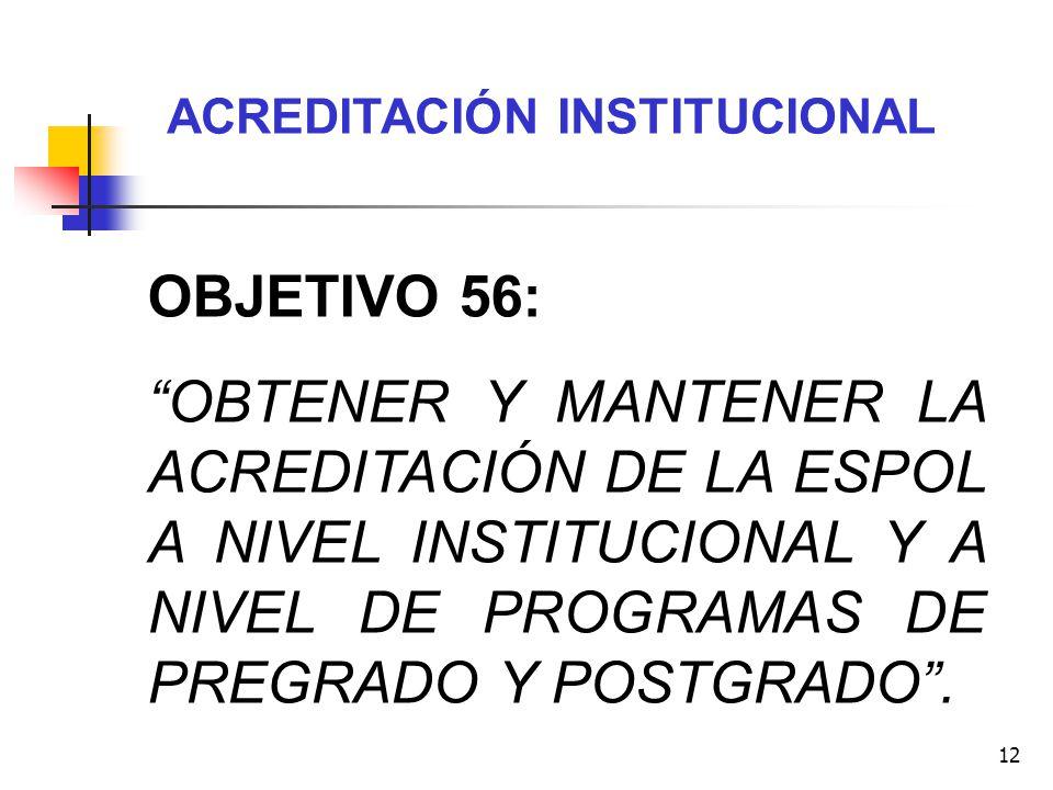 12 ACREDITACIÓN INSTITUCIONAL OBJETIVO 56: OBTENER Y MANTENER LA ACREDITACIÓN DE LA ESPOL A NIVEL INSTITUCIONAL Y A NIVEL DE PROGRAMAS DE PREGRADO Y P