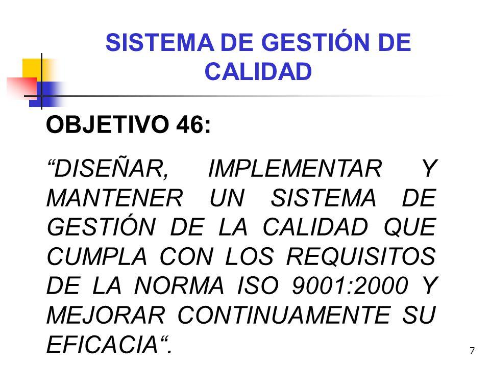 7 SISTEMA DE GESTIÓN DE CALIDAD OBJETIVO 46: DISEÑAR, IMPLEMENTAR Y MANTENER UN SISTEMA DE GESTIÓN DE LA CALIDAD QUE CUMPLA CON LOS REQUISITOS DE LA N