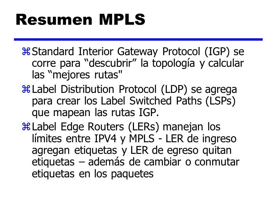 Resumen MPLS zLabel Switch Routers (LSRs) conmutan etiquetas en los paquetes a través del core MPLS MPLS – Tecnología de Base
