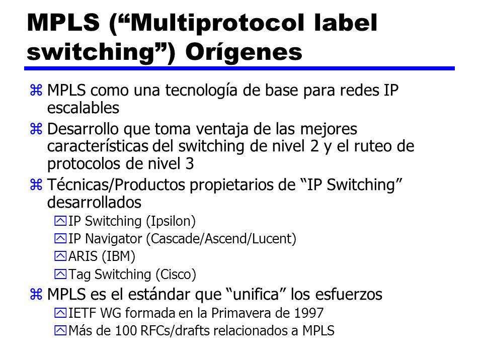 MPLS (Multiprotocol label switching) Orígenes zMPLS como una tecnología de base para redes IP escalables zDesarrollo que toma ventaja de las mejores c
