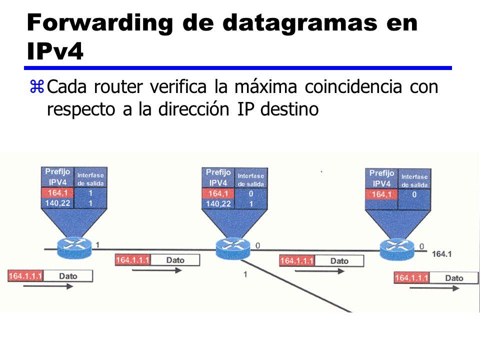 Forwarding de datagramas en IPv4 zCada router verifica la máxima coincidencia con respecto a la dirección IP destino