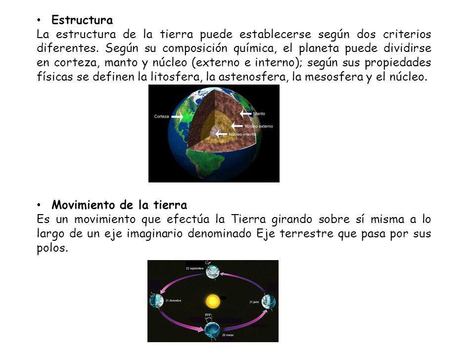 Estructura La estructura de la tierra puede establecerse según dos criterios diferentes.