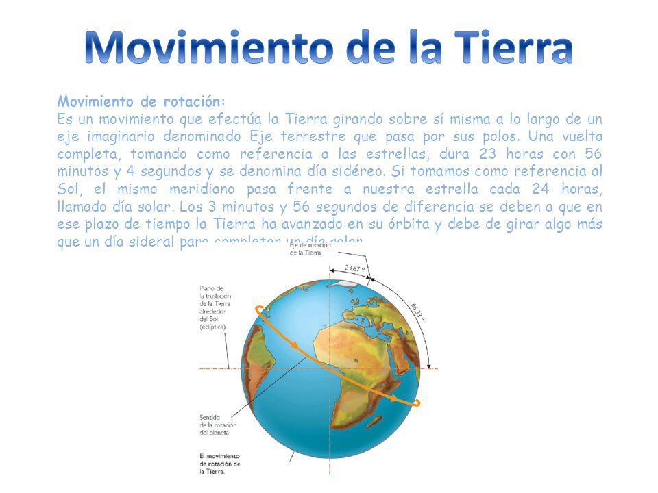 Movimiento de rotación: Es un movimiento que efectúa la Tierra girando sobre sí misma a lo largo de un eje imaginario denominado Eje terrestre que pasa por sus polos.