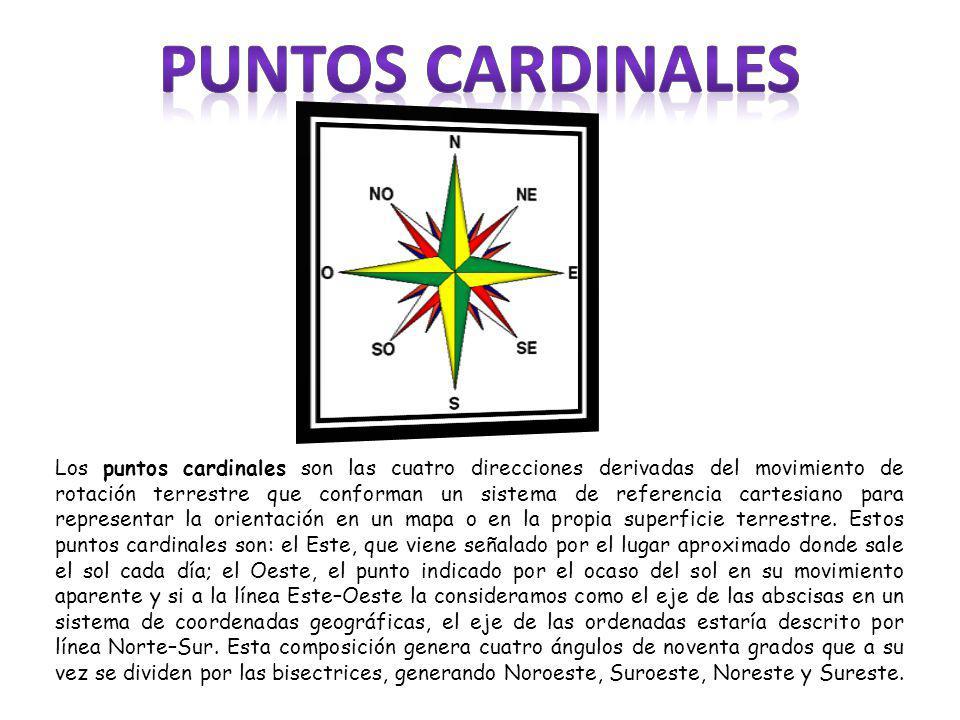 Los puntos cardinales son las cuatro direcciones derivadas del movimiento de rotación terrestre que conforman un sistema de referencia cartesiano para representar la orientación en un mapa o en la propia superficie terrestre.