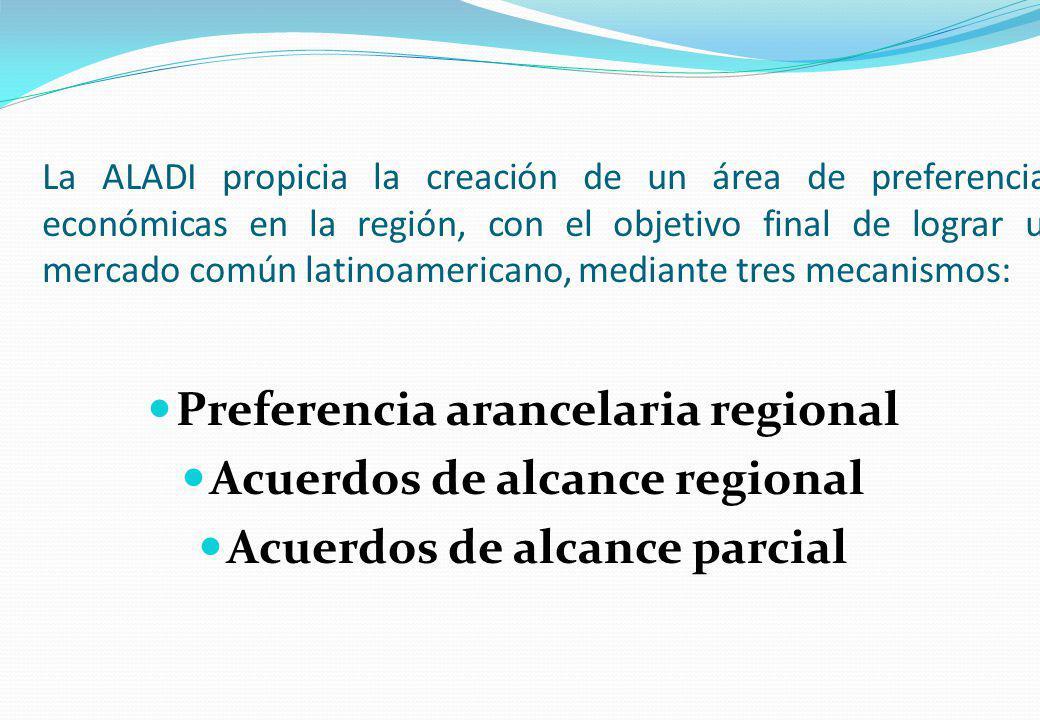 La ALADI propicia la creación de un área de preferencias económicas en la región, con el objetivo final de lograr un mercado común latinoamericano, me