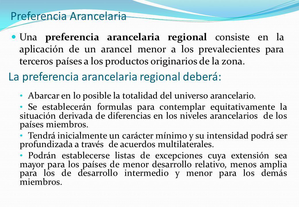 Preferencia Arancelaria Una preferencia arancelaria regional consiste en la aplicación de un arancel menor a los prevalecientes para terceros países a