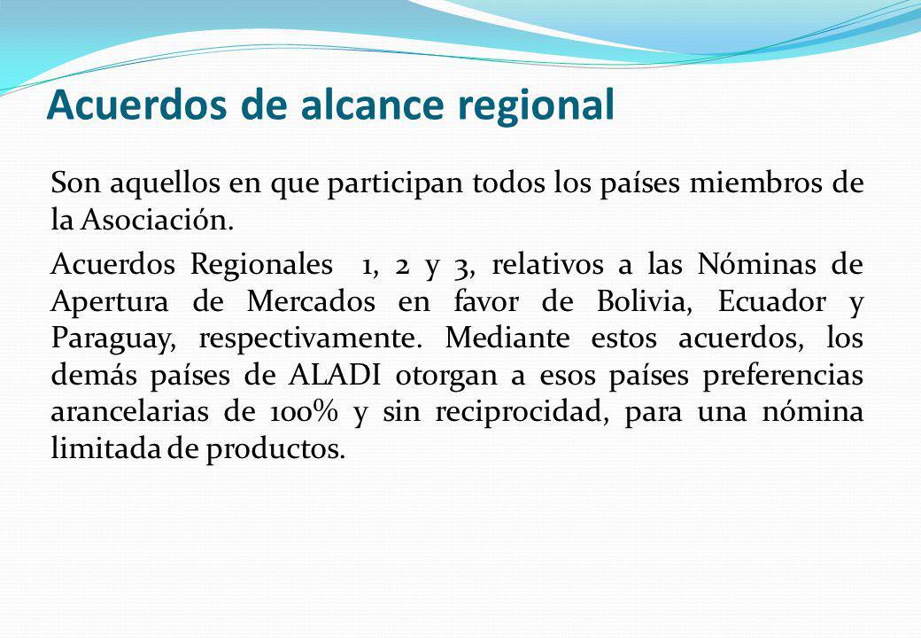 Acuerdos de alcance regional Son aquellos en que participan todos los países miembros de la Asociación. Acuerdos Regionales 1, 2 y 3, relativos a las