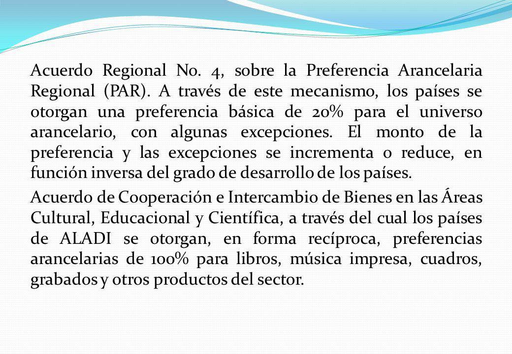 Acuerdo Regional No. 4, sobre la Preferencia Arancelaria Regional (PAR). A través de este mecanismo, los países se otorgan una preferencia básica de 2