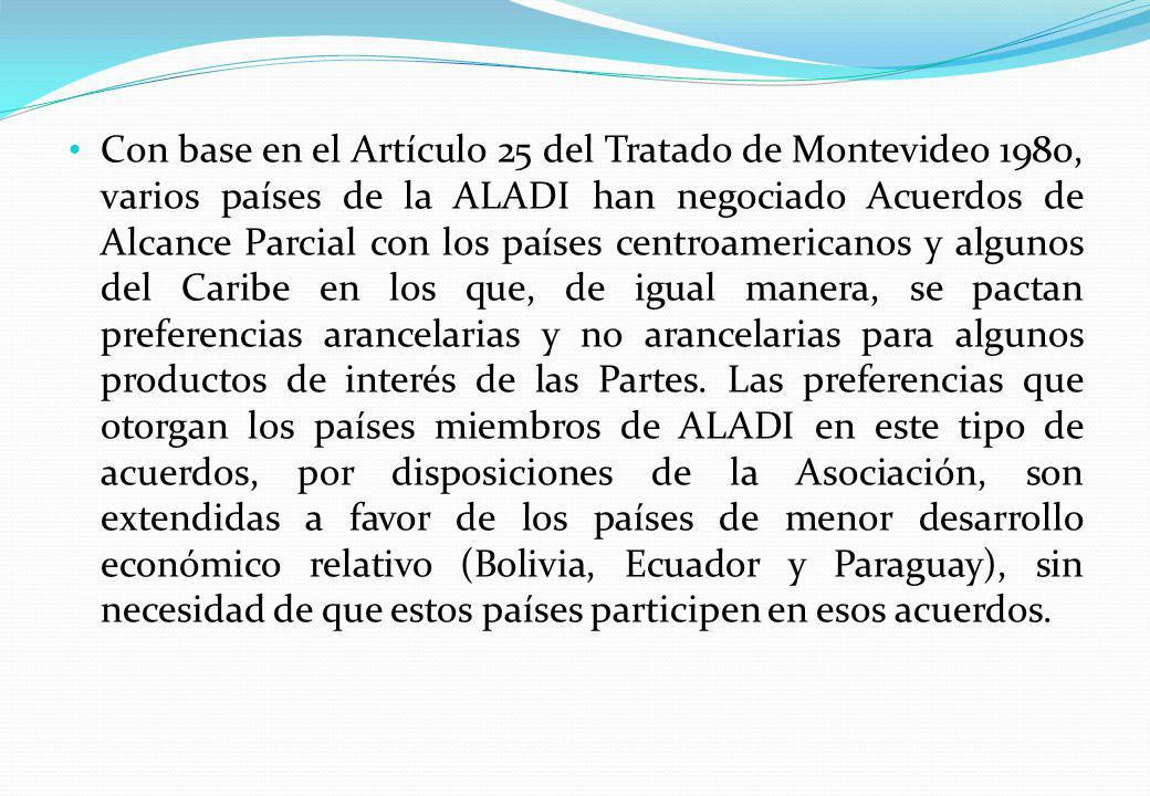 Con base en el Artículo 25 del Tratado de Montevideo 1980, varios países de la ALADI han negociado Acuerdos de Alcance Parcial con los países centroam