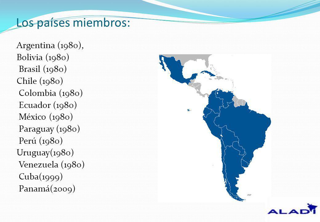 Los países miembros: Argentina (1980), Bolivia (1980) Brasil (1980) Chile (1980) Colombia (1980) Ecuador (1980) México (1980) Paraguay (1980) Perú (19