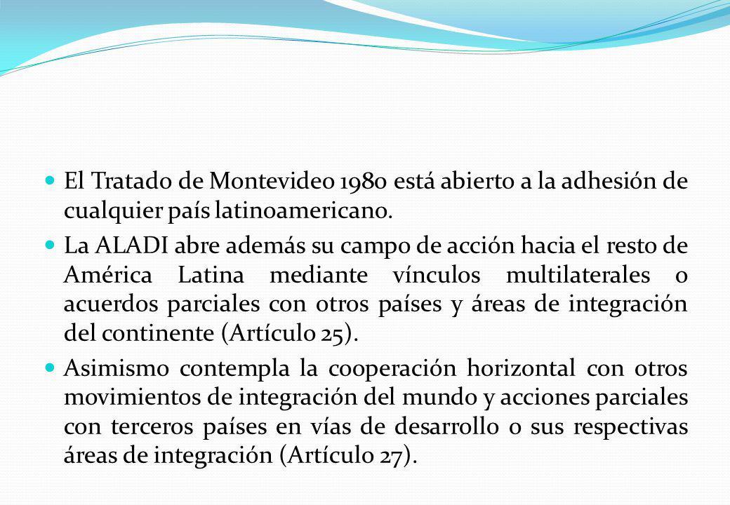 El Tratado de Montevideo 1980 está abierto a la adhesión de cualquier país latinoamericano. La ALADI abre además su campo de acción hacia el resto de