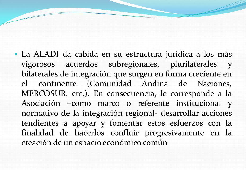 La ALADI da cabida en su estructura jurídica a los más vigorosos acuerdos subregionales, plurilaterales y bilaterales de integración que surgen en for