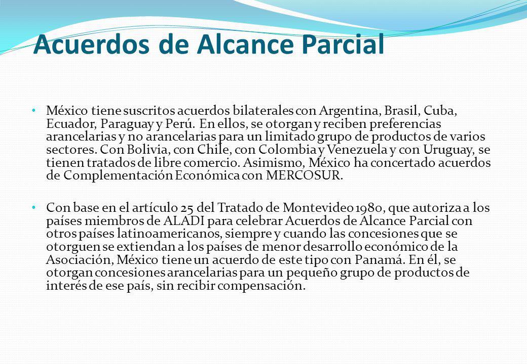 Acuerdos de Alcance Parcial México tiene suscritos acuerdos bilaterales con Argentina, Brasil, Cuba, Ecuador, Paraguay y Perú. En ellos, se otorgan y
