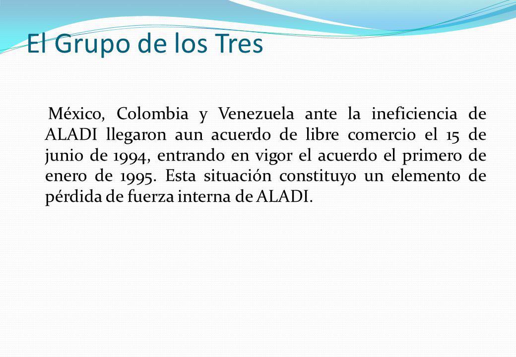El Grupo de los Tres México, Colombia y Venezuela ante la ineficiencia de ALADI llegaron aun acuerdo de libre comercio el 15 de junio de 1994, entrand