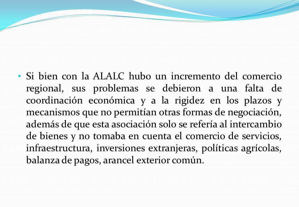 Si bien con la ALALC hubo un incremento del comercio regional, sus problemas se debieron a una falta de coordinación económica y a la rigidez en los p