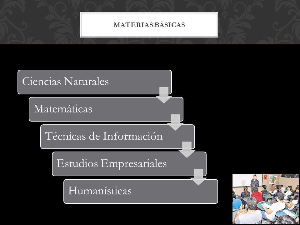 MATERIAS BÁSICAS Ciencias NaturalesMatemáticasTécnicas de InformaciónEstudios EmpresarialesHumanísticas