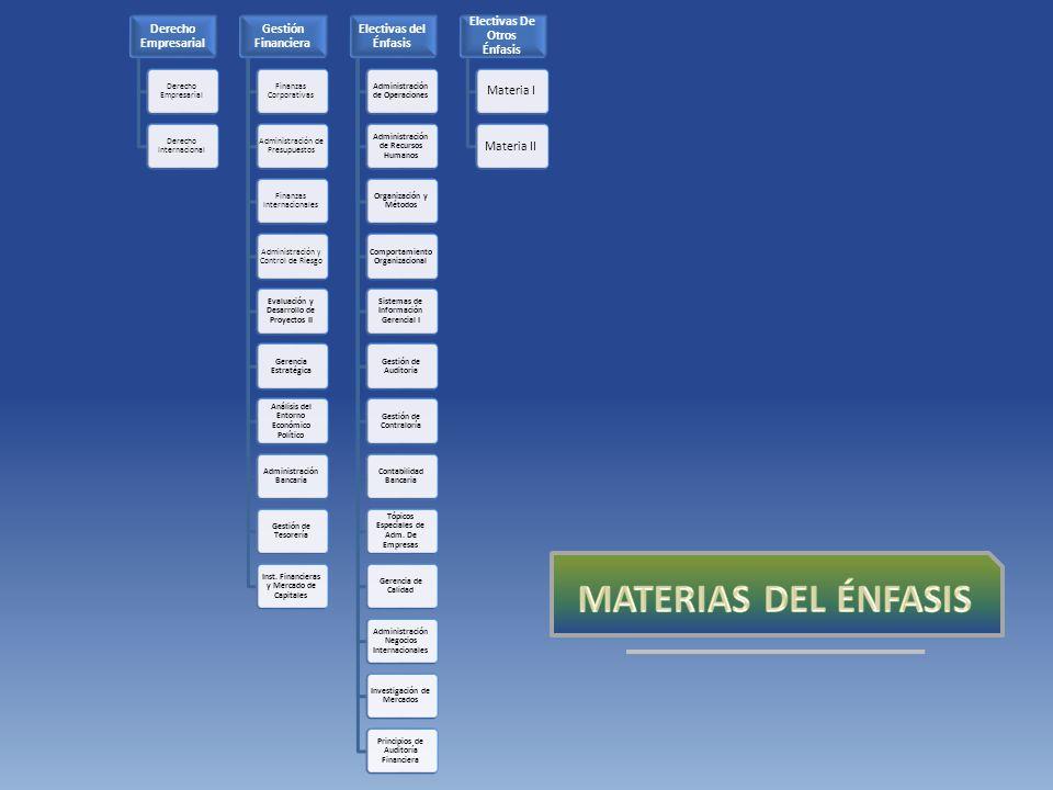 Derecho Empresarial Derecho Internacional Gestión Financiera Finanzas Corporativas Administración de Presupuestos Finanzas Internacionales Administración y Control de Riesgo Evaluación y Desarrollo de Proyectos II Gerencia Estratégica Análisis del Entorno Económico Político Administración Bancaria Gestión de Tesorería Inst.