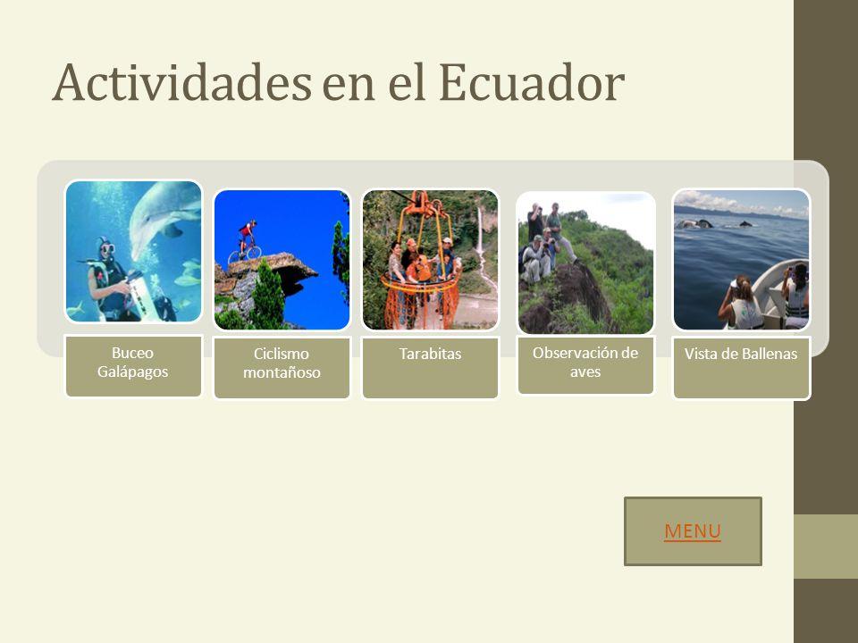 Actividades en el Ecuador Buceo Galápagos Ciclismo montañoso Tarabitas Observación de aves Vista de Ballenas MENU