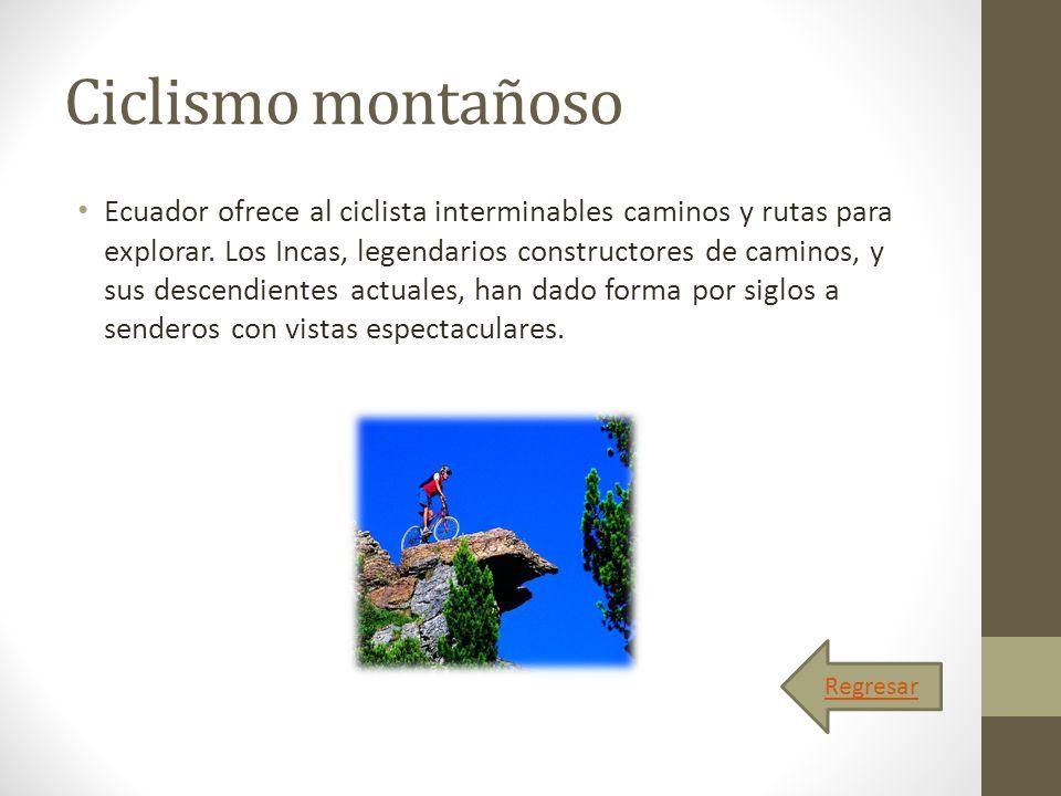 Ciclismo montañoso Ecuador ofrece al ciclista interminables caminos y rutas para explorar. Los Incas, legendarios constructores de caminos, y sus desc