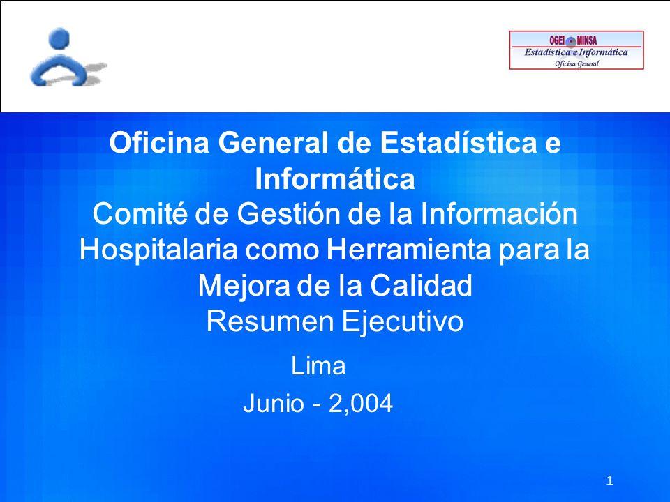 1 Oficina General de Estadística e Informática Comité de Gestión de la Información Hospitalaria como Herramienta para la Mejora de la Calidad Resumen Ejecutivo Lima Junio - 2,004