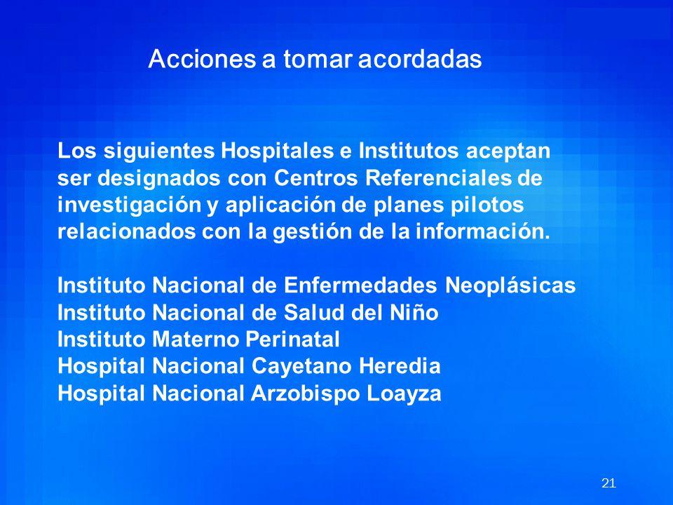 20 Fecha: 14/06/2004 Hora: 13.00 a 14.20 horas Participantes Dr. Carlos Vallejos - Instituto Nacional de Enfermedades Neoplásicas Ing. Jose Carranza -