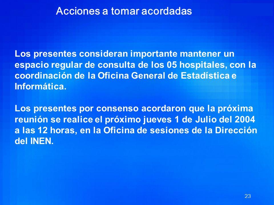 22 Acciones a tomar acordadas Abordar en un corto o mediano plazo los siguientes problemáticas planteadas por los Hospitales e Institutos: Estandariza